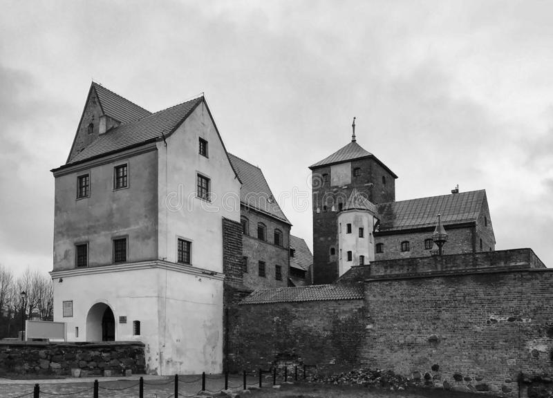 Darlowo Poland Castle landmark black and white royalty free stock images