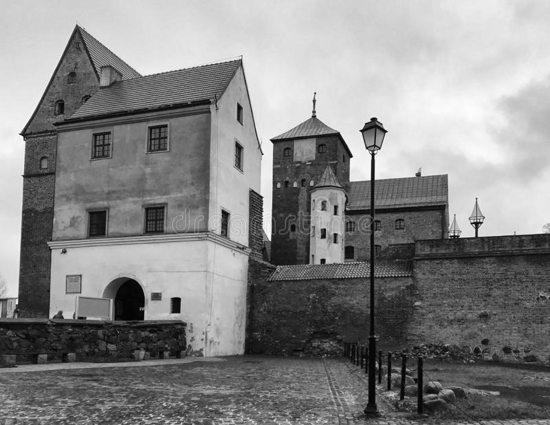 Darlowo Poland Castle landmark black and white stock photo