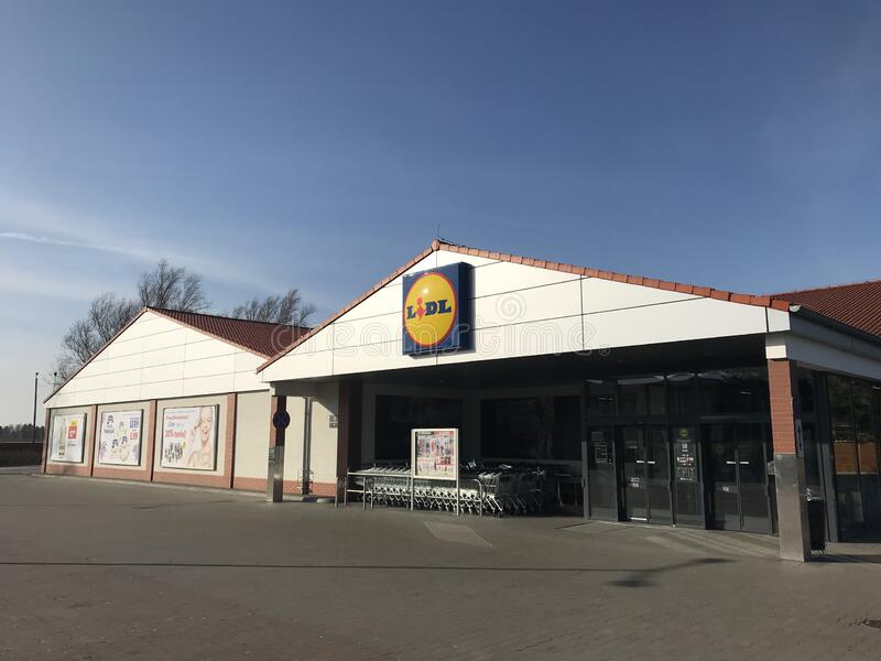 Lidl supermarket in Darlowo Poland royalty free stock photos