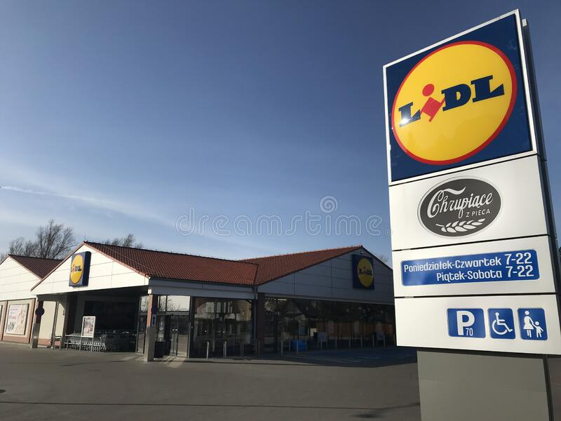 Lidl supermarket in Darlowo Poland royalty free stock photo