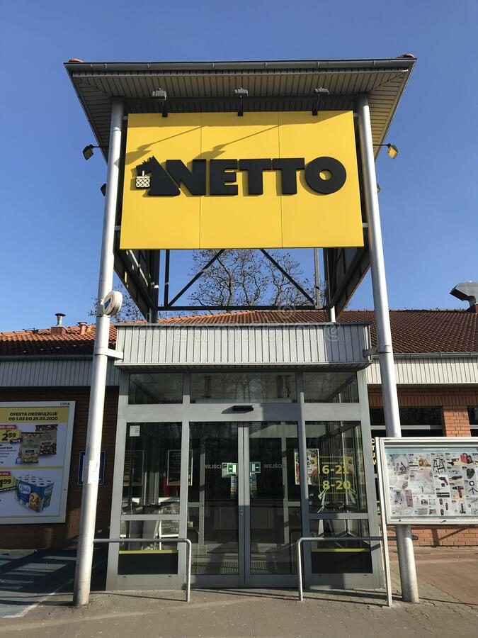 Netto supermarket in Darlowo Poland royalty free stock image