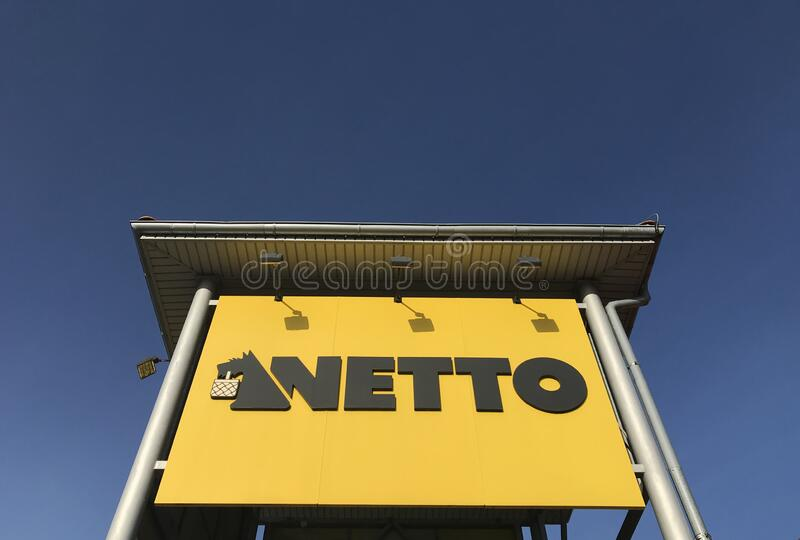 Netto supermarket in Darlowo Poland. Darlowo, Poland, February 2020: General view of the Netto supermarket. The chain owned by Danish group stock photography