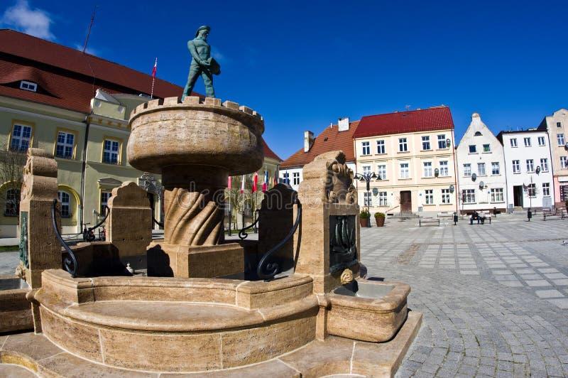 Darlowo, Poland - the town square wide angle fisheye image stock photos