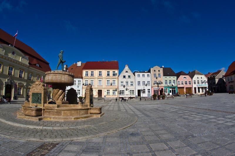 Darlowo, Poland - the town square wide angle fisheye image stock photo