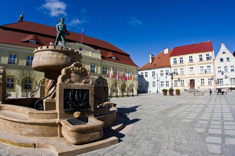 Darlowo, Poland - the town square wide angle fisheye image royalty free stock image
