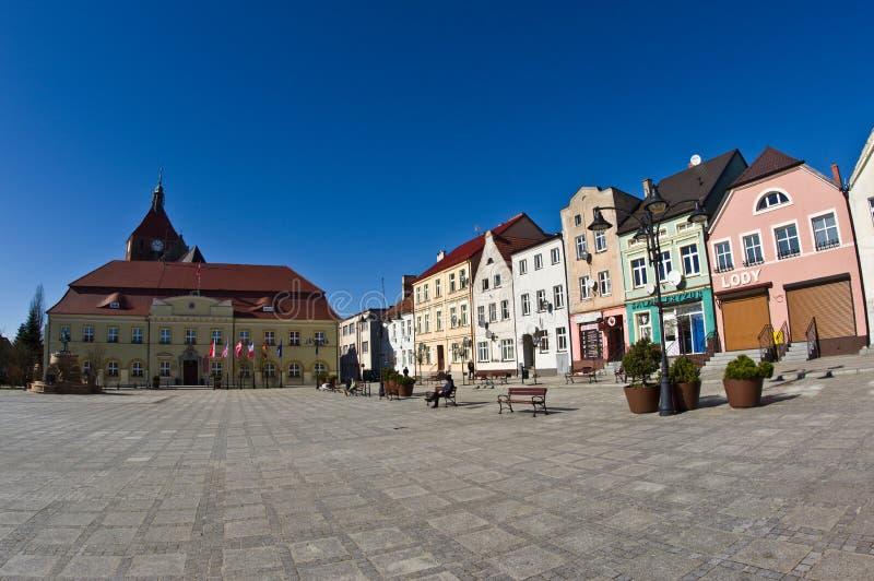 Darlowo, Poland - the town square wide angle fisheye image stock image