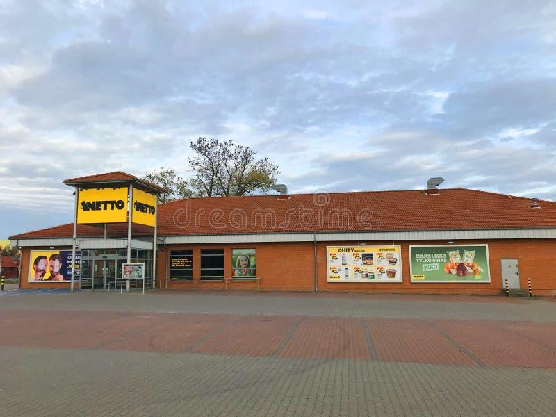 Netto supermarket facade in Poland on nontrading Sunday royalty free stock image