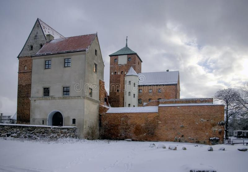 Darlowo Poland Medieval castle in winter stock photography