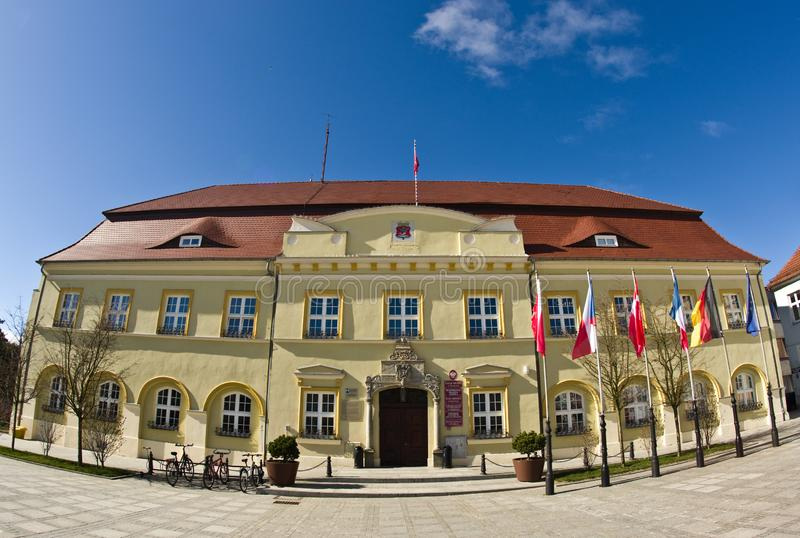 Darlowo, Poland - the town square wide angle fisheye image royalty free stock photography