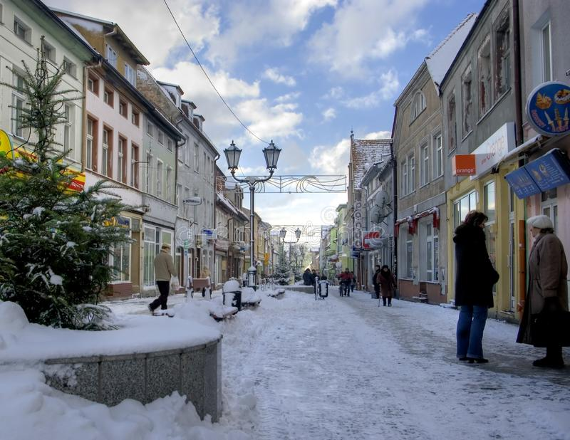 Darlowo, Poland, the old town central street in winter royalty free stock photo