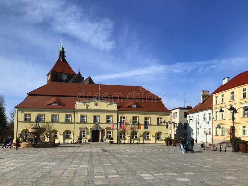 Darlowo Polen, stadfyrkanten i den tidiga våren 2019 royaltyfri foto