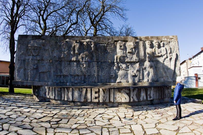 Darlowo, Pologne - monument de la deuxième guerre mondiale de courrier photos stock