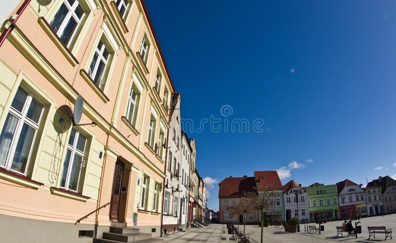 Darlowo, Polska - rynku kąta fisheye szeroki wizerunek obrazy stock