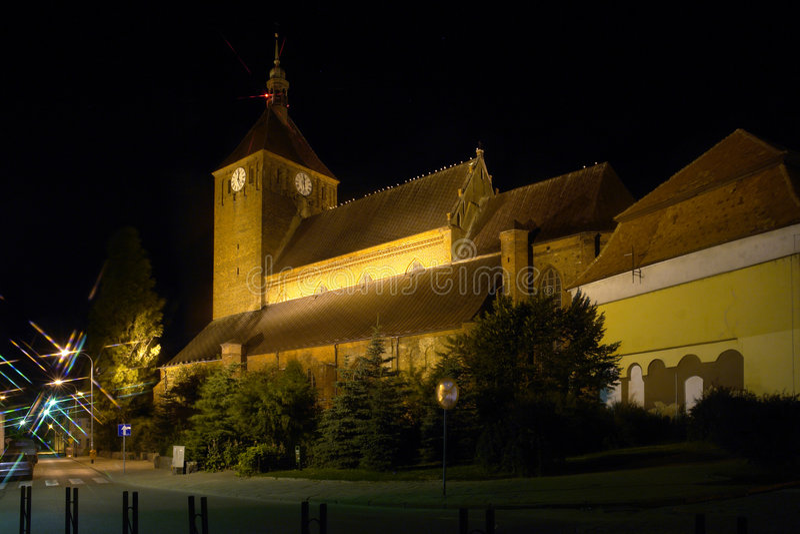 Download Darlowo's church at night stock image. Image of brickwork - 2051013