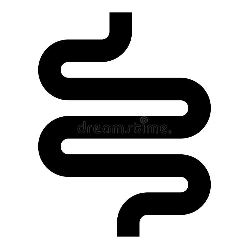 Darm of van het darmenpictogram zwart vlak de stijl eenvoudig beeld van de kleurenillustratie stock illustratie