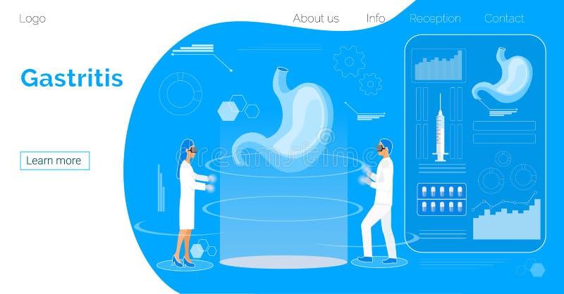 Darmleidenlandungsseite Flacher kleiner Doktor, der den Magen pupming ist im Hologrammraum herstellt vektor abbildung
