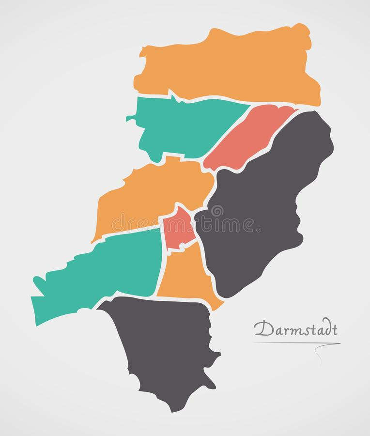 Darmstadt Map with boroughs and modern round shapes. Illustration stock illustration