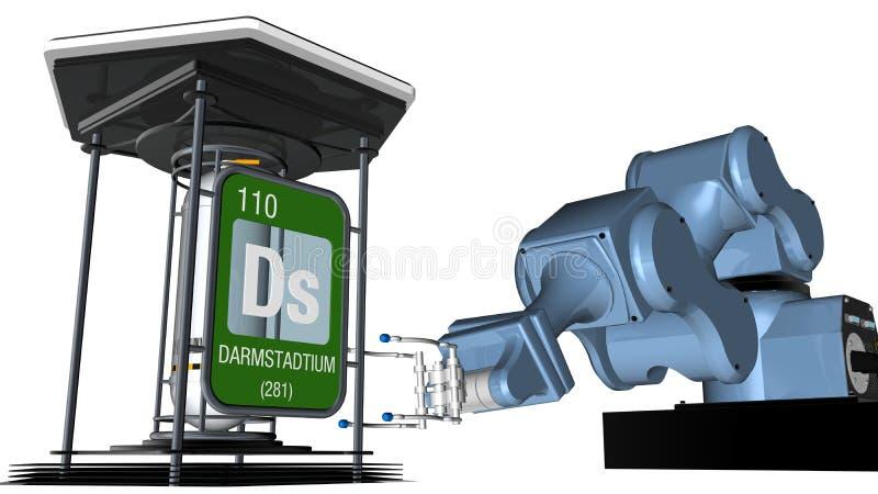 Darmstadtiumsymbool in vierkante vorm met metaalrand voor een mechanisch wapen dat een chemische container zal houden 3d geef ter royalty-vrije illustratie