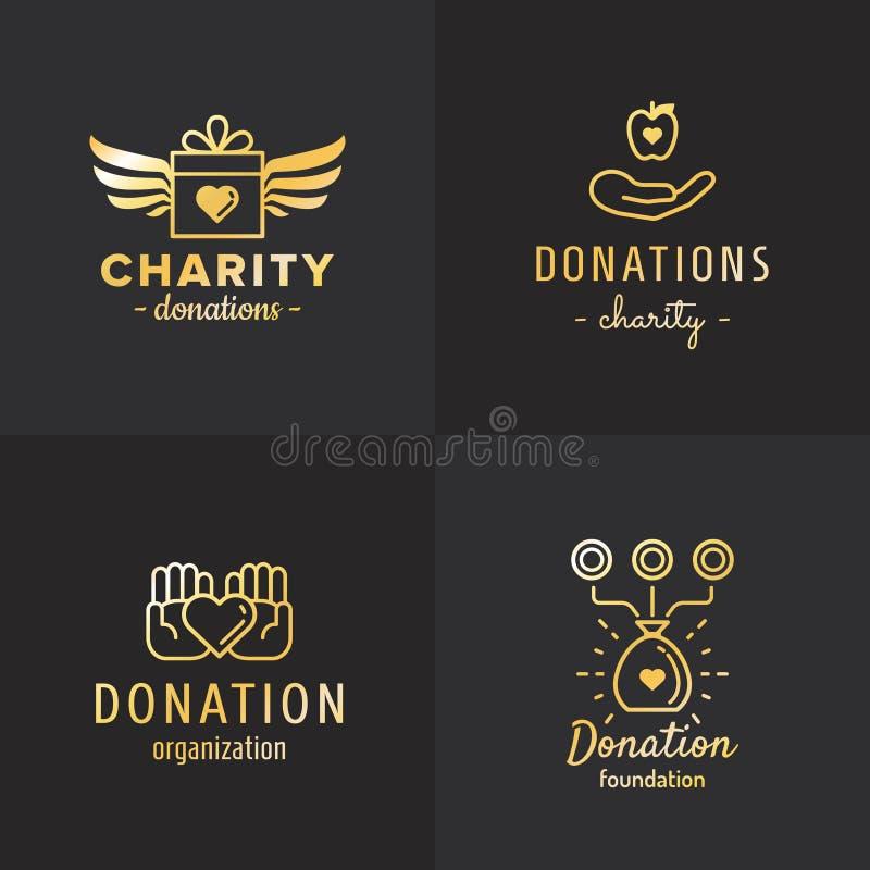 Darowizny i dobroczynność loga rocznika wektoru złocisty set część dwa ilustracja wektor