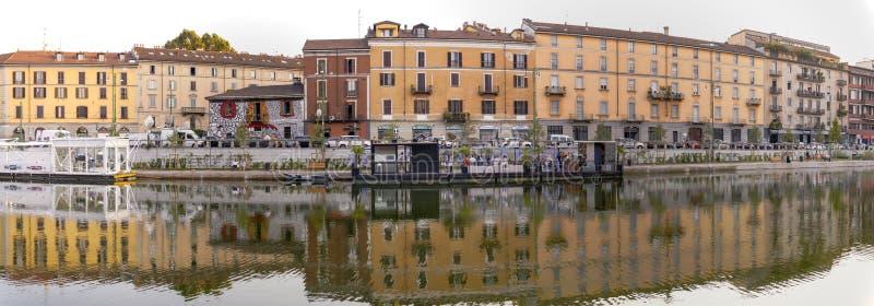 Darsena, cidade de Milão, noite de verão Imagem da cor fotografia de stock royalty free