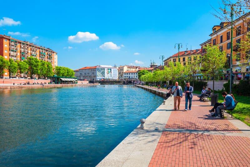 Darsena kunstmatig reservoir in Milaan royalty-vrije stock fotografie
