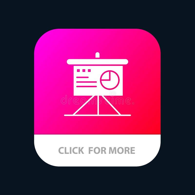 Darstellung, Analytics, Brett, Geschäft mobiler App-Knopf Android und IOS-Glyph-Version lizenzfreie abbildung
