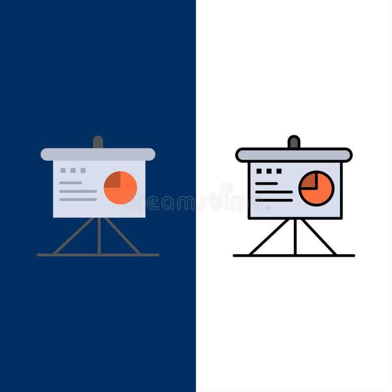 Darstellung, Analytics, Brett, Geschäfts-Ikonen Ebene und Linie gefüllte Ikone stellten Vektor-blauen Hintergrund ein stock abbildung