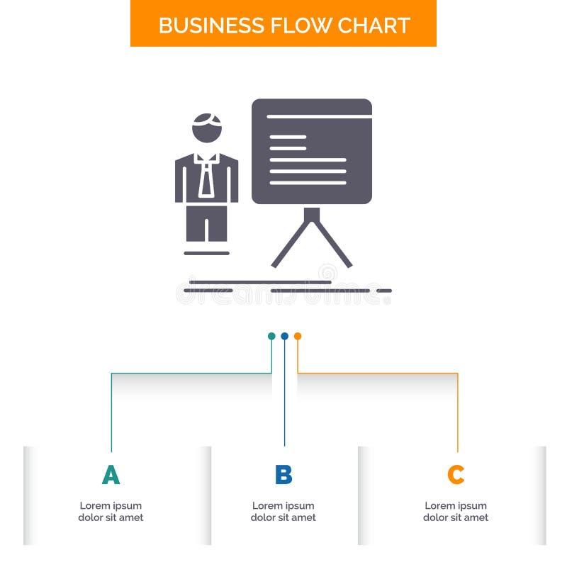 Darstellung, Geschäftsmann, Diagramm, Diagramm, Fortschritt Geschäfts-Flussdiagramm-Entwurf mit 3 Schritten Glyph-Ikone f?r Darst stock abbildung