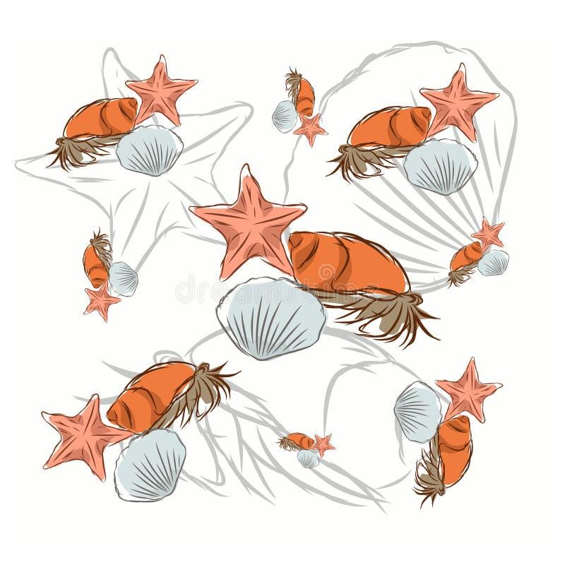 die illustration des einsiedlers mit papageien auf einer
