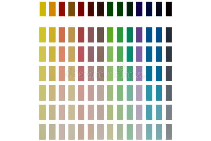 Darstellung von den verschiedenen Farben lokalisiert auf einem weißen Hintergrund lizenzfreies stockbild