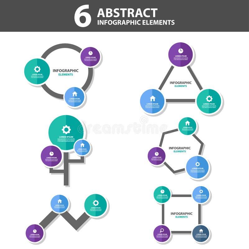 Darstellungs-Schablone mit 6 stellte flaches Design der abstrakten Infographic-Elementen für Marketing der Broschürenflieger-Bros stock abbildung