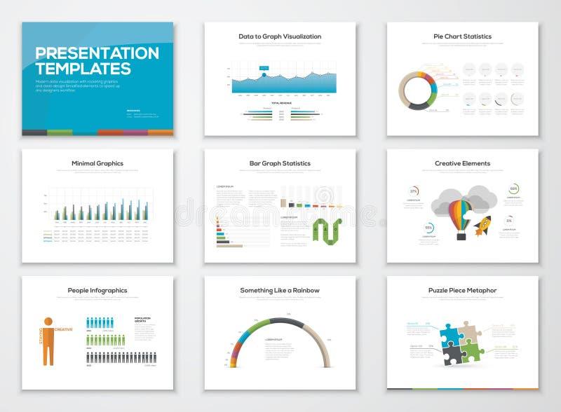 Darstellungsdiaschablonen und Geschäftsvektorbroschüren lizenzfreie abbildung