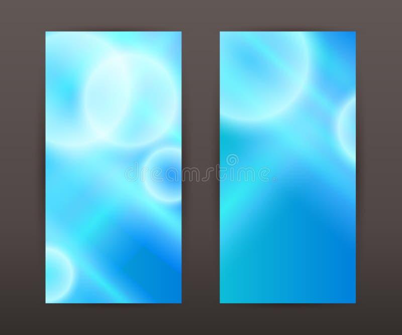 Darstellungsflieger der blauen Fahne des Hintergrundes der Unschärfe gesetzter vertikalen lizenzfreie abbildung