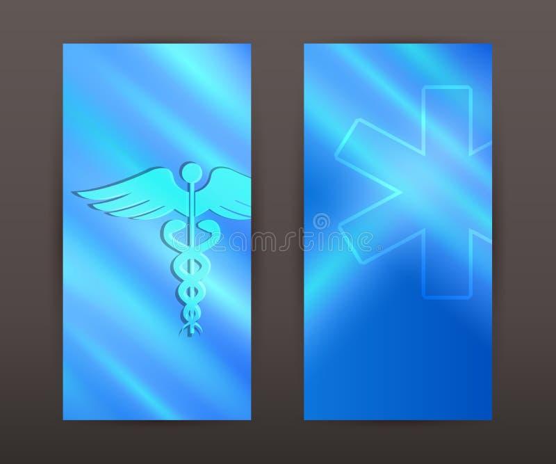 Darstellungsflieger der vertikalen Fahne des medizinischen Hintergrundes gesetzter stock abbildung