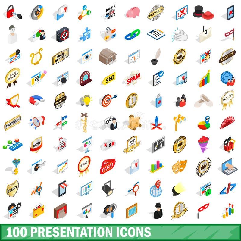 100 Darstellungsikonen eingestellt, isometrische Art 3d lizenzfreie abbildung