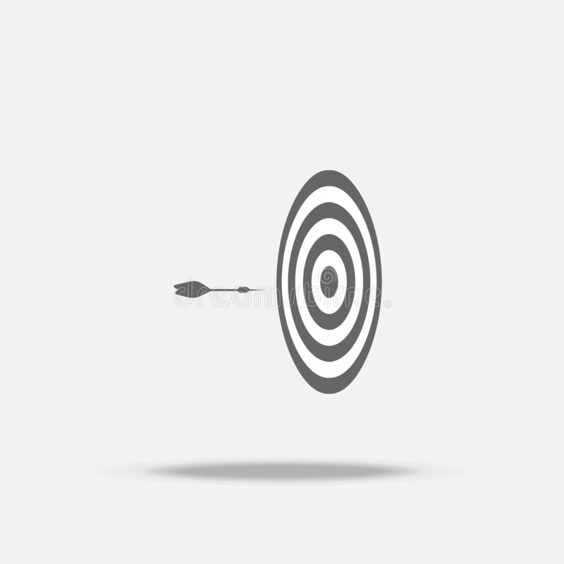 Dart board and arrow in the middle flat design vector icon with shadow, business sign, target, Business successful stock illustration