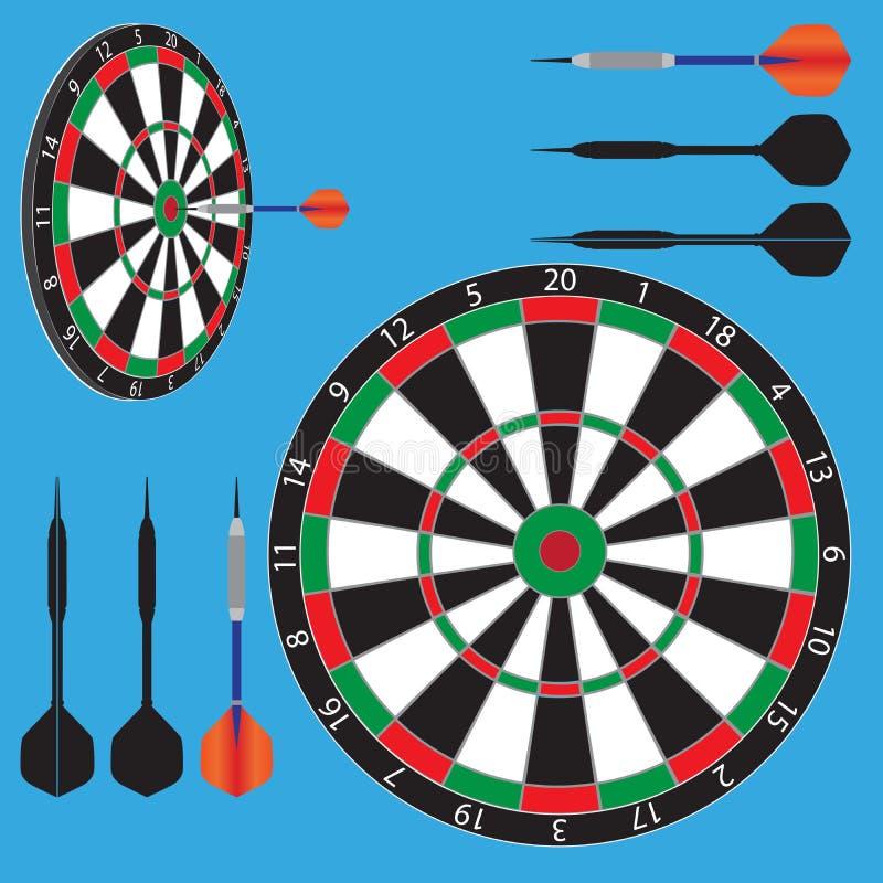 Dart board and darts stock illustration