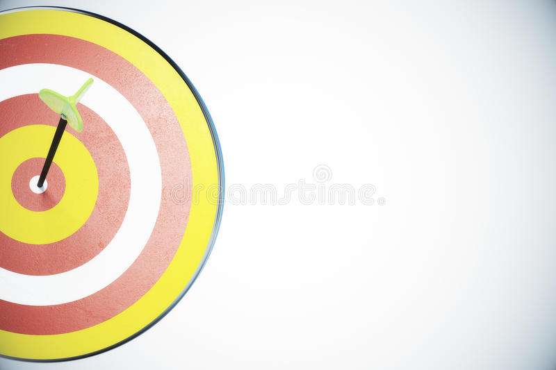Dart board and a direct hit on target vector illustration