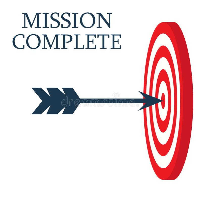 A dart is in the center of a dartboard. Target concept. mission complete, business concept. royalty free illustration
