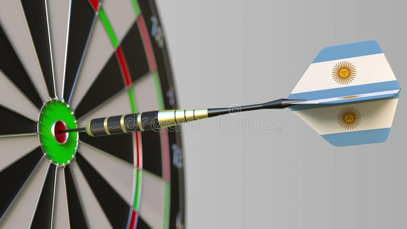 Dart featuring flag of Argentina hits bullseye of the target. Sports or political success related conceptual 3D royalty free illustration