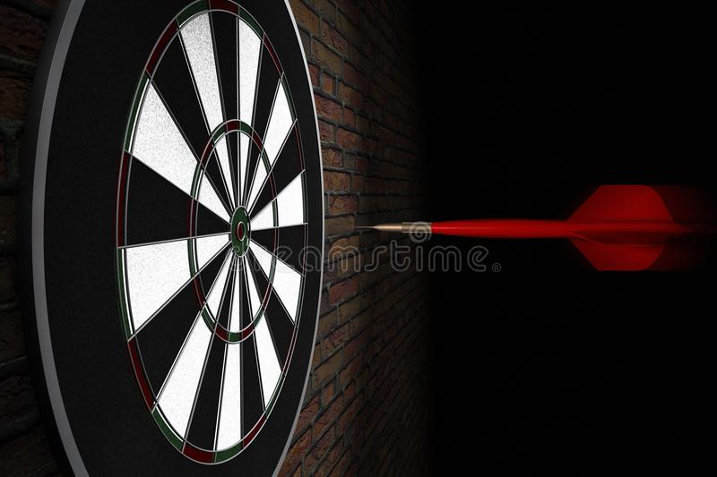 A dart flying straight to bullseye royalty free illustration