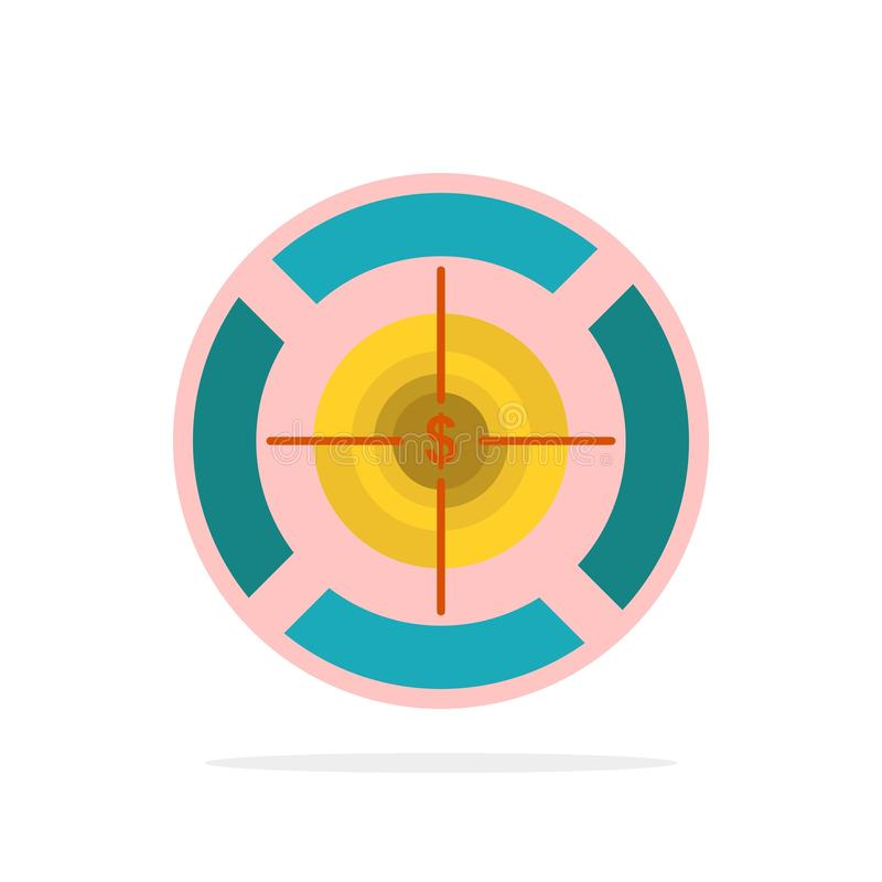 Dart, Focus, Target, Dollar Abstract Circle Background Flat color Icon vector illustration