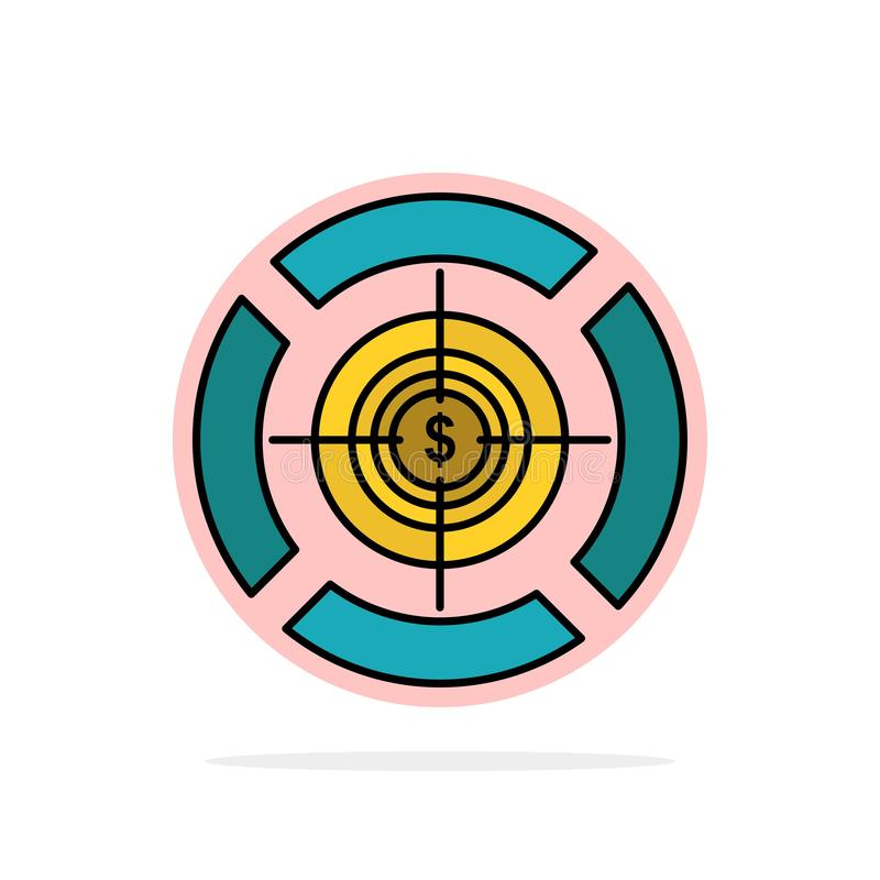 Dart, Focus, Target, Dollar Abstract Circle Background Flat color Icon stock illustration