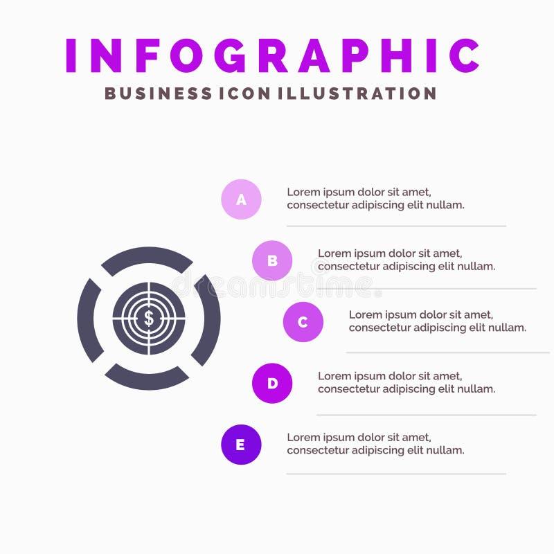 Dart, Focus, Target, Dollar Solid Icon Infographics 5 Steps Presentation Background stock illustration