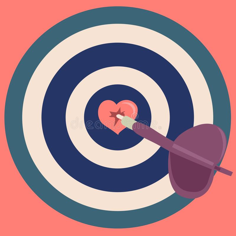 Dart hit the heart in the middle of the target royalty free illustration