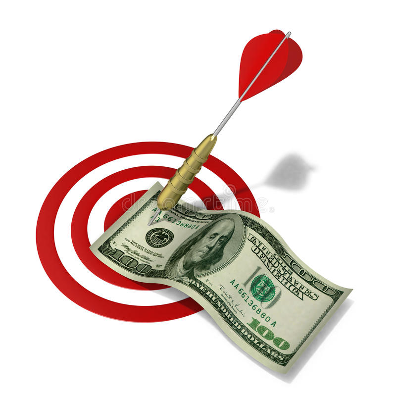 Download Dart hitting the money stock illustration. Image of concentric - 26361525
