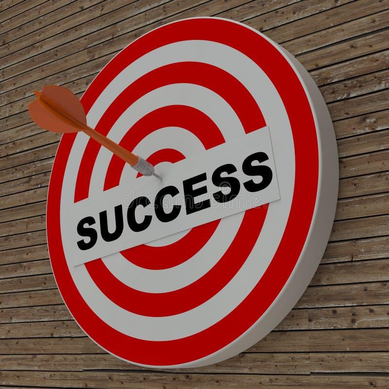 Dart hitting success center target on dartboard stock images
