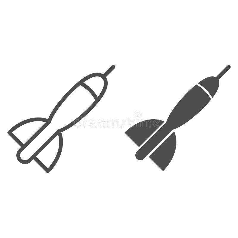 Dart linha de seta e ícone de glifo Ilustração vetorial de dardos isolada em branco Design de estilo de esboço do jogo de dardos, ilustração stock