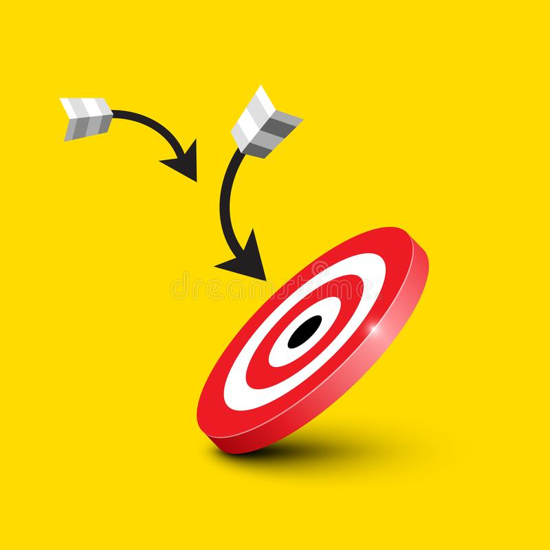 Dart Target - Bullseye with Darts, Arrows on Yellow Background stock illustration