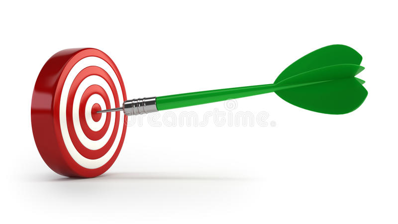Dart and the target. Isolated white background stock photos